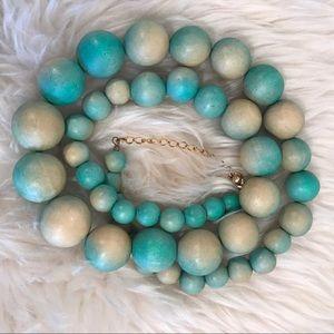 Vintage Aqua Blue Chunky Wooden Bead Necklace